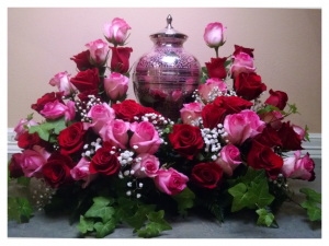 Rose Urn Tribute by Rosamungthorns Springfield MO 417-720-4004