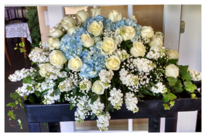 Rosamungthorns custom blue and white casket spray