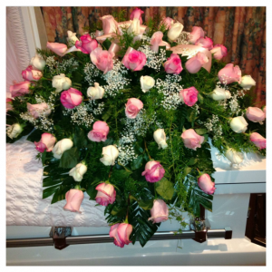 Rosamungthorns Traditional rose casket spray