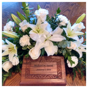 White Urn Arrangement by Rosamungthorns Springfield MO 417-720-4004